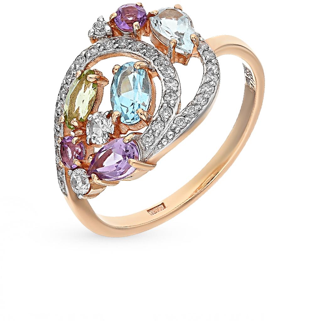золотое кольцо с аметистами, топазами, фианитами и хризолитами SUNLIGHT