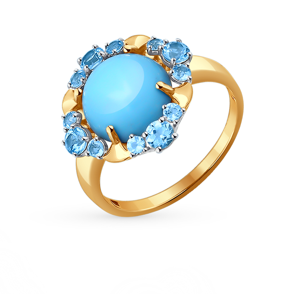 Фото «золотое кольцо с бирюза и топазами»
