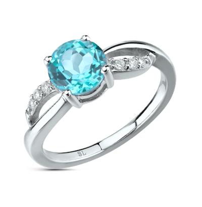 Фото «серебряное кольцо с алпанитами, топазами и фианитами»
