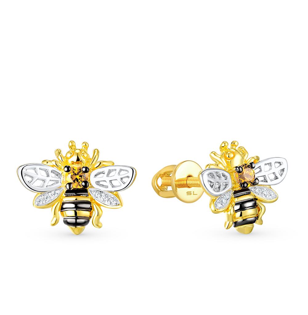 Фото «золотые серьги с бриллиантами и цитринами»