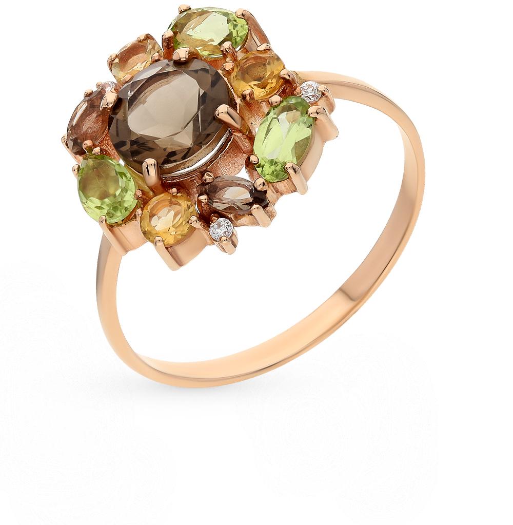 Фото «золотое кольцо с цитринами, фианитами, хризолитом и раухтопазами (кварцами дымчатый)»