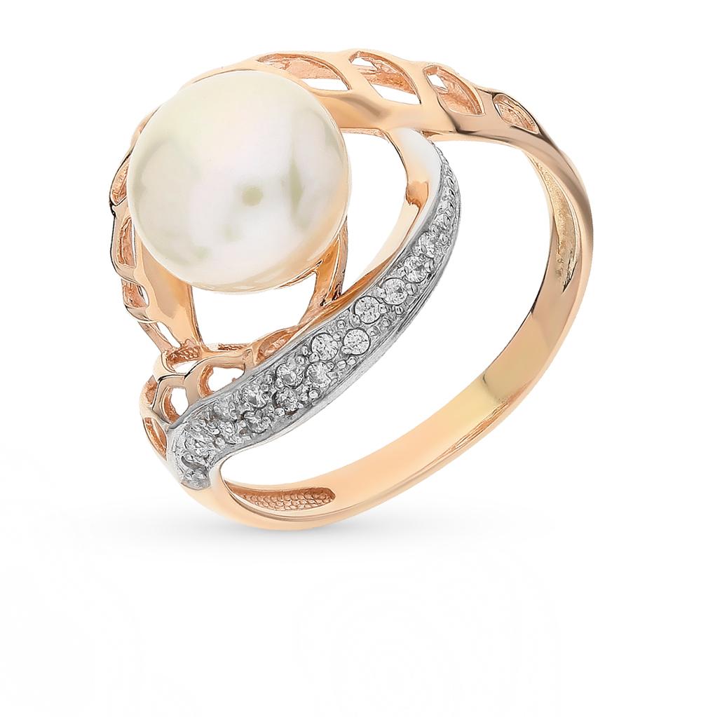 Фото «золотое кольцо с бриллиантами, фианитами, рубинами и жемчугом»