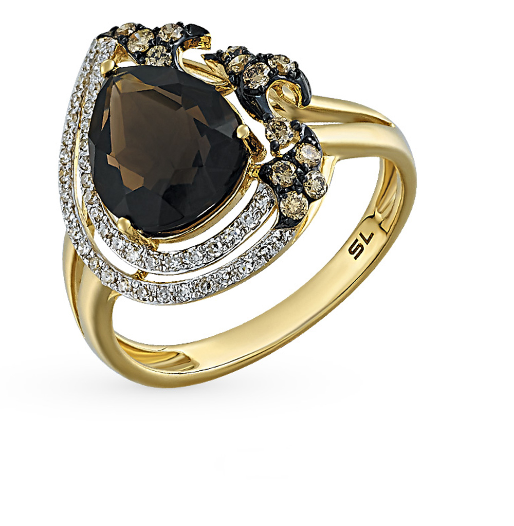 Фото «золотое кольцо с коньячными и белыми бриллиантами и раухтопазами (кварцами дымчатый)»