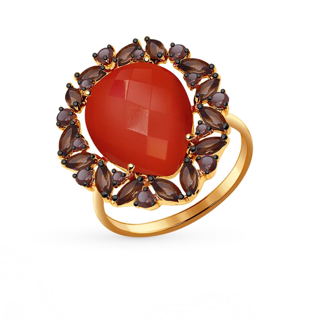 Фото «золотое кольцо с сердоликами и раухтопазами (кварцами дымчатый)»