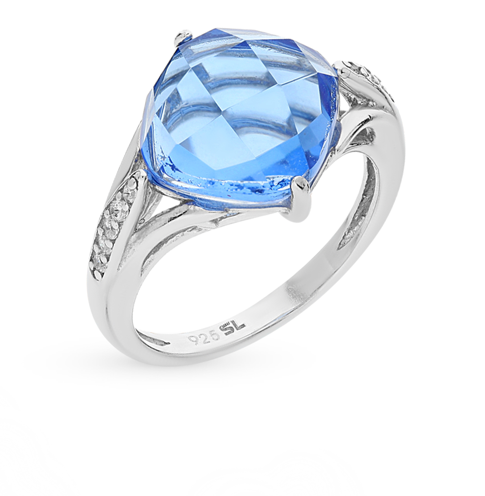 Фото «серебряное кольцо с кварцами синтетическими и фианитами»
