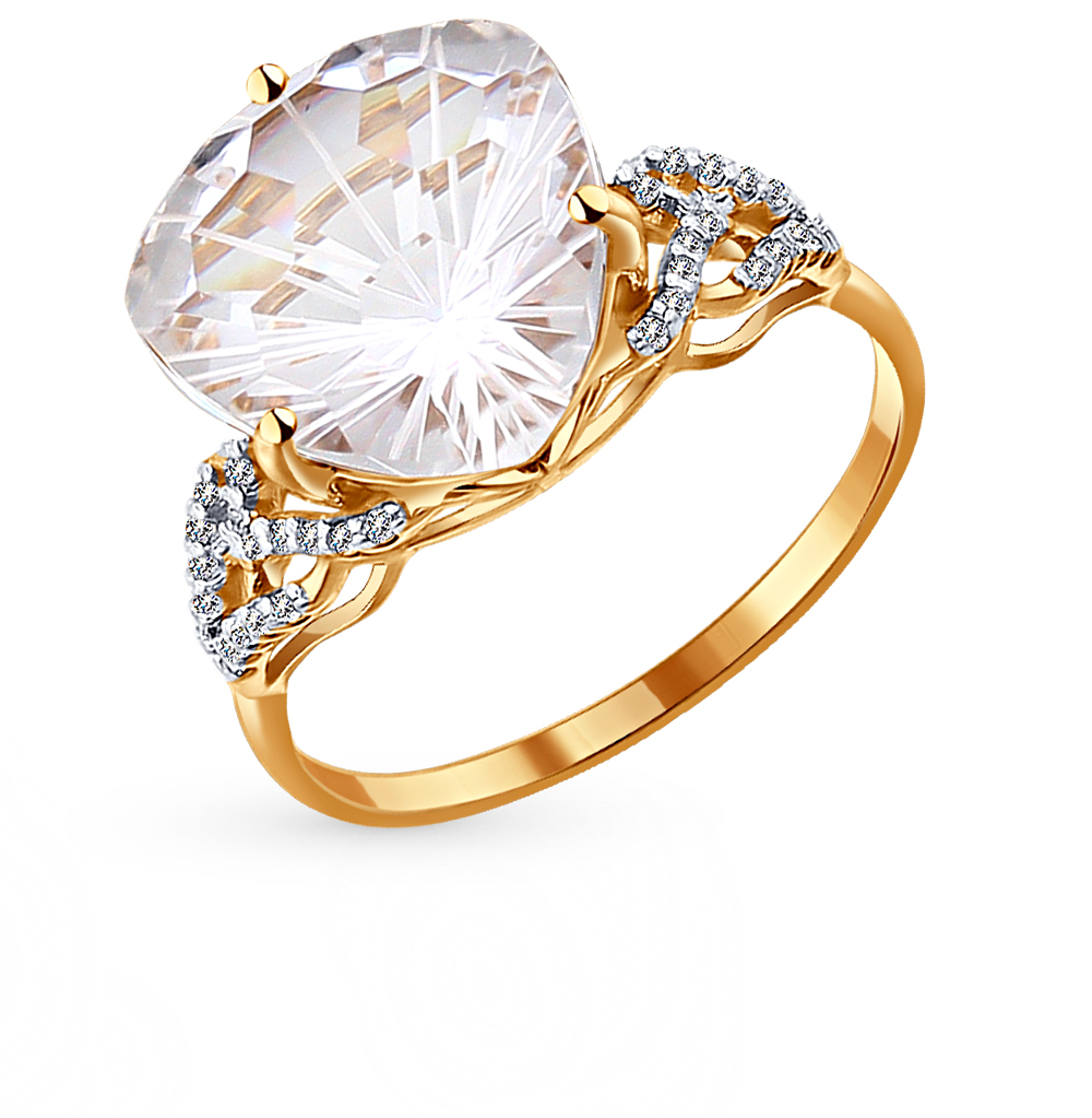 Фото «золотое кольцо с фианитами и горными хрусталями»