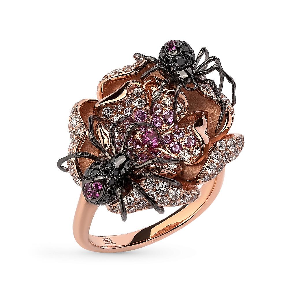 Фото «золотое кольцо с чёрными и белыми бриллиантами и рубинами»