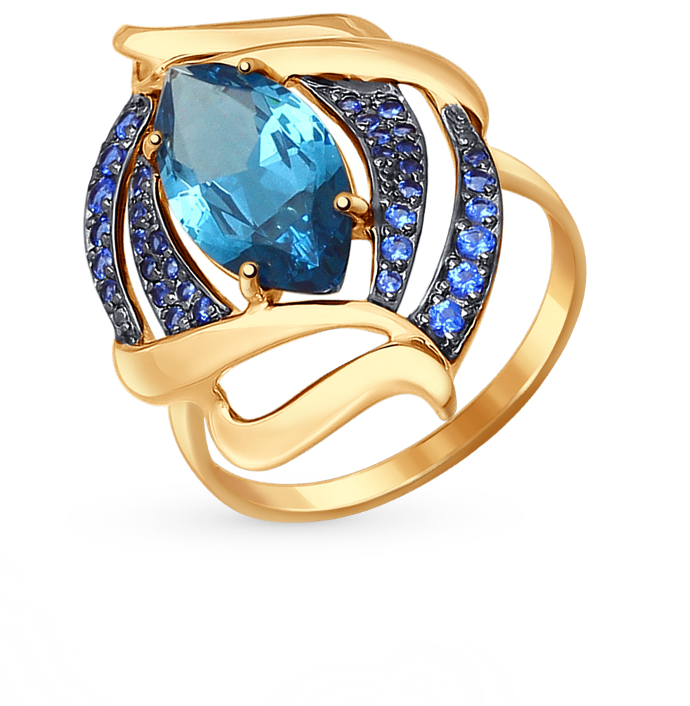 Фото «золотое кольцо с лондонами ситалами и фианитами»