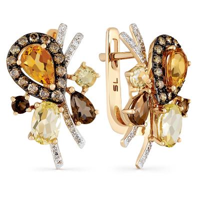 золотые серьги с бриллиантами, кварцами дымчатыми и кварцами SUNLIGHT