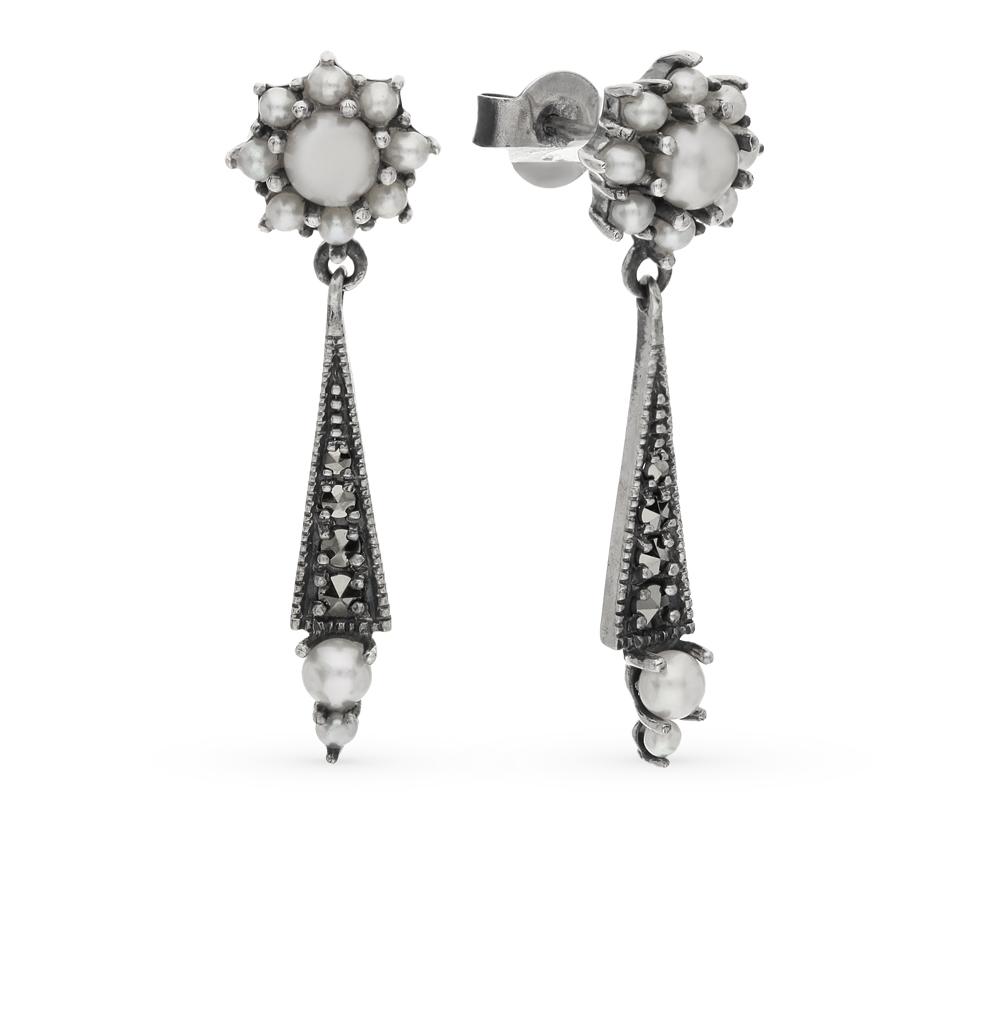 Фото «серебряные серьги с марказитами и жемчугами культивированными»