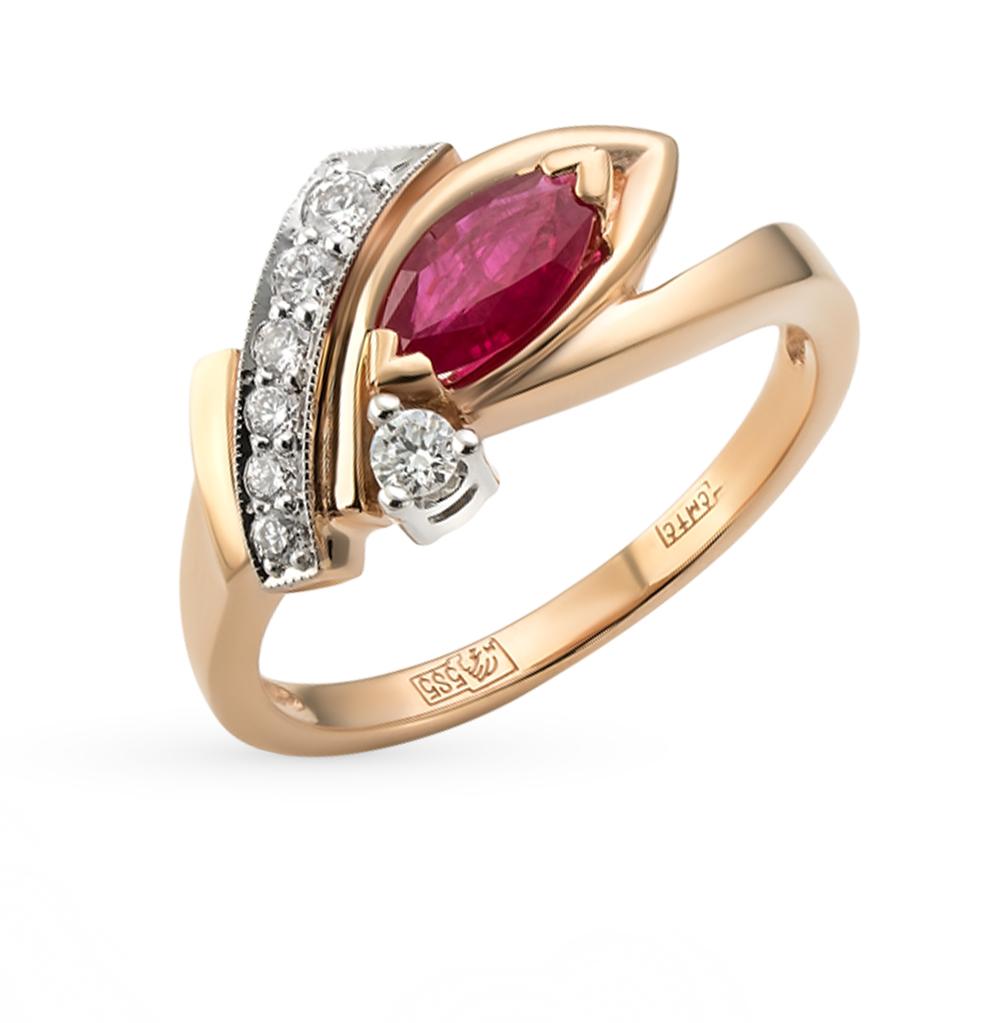 золотое кольцо с рубинами и бриллиантами SUNLIGHT