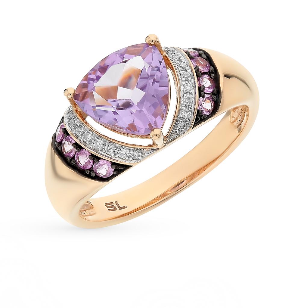 Фото «золото кольцо с бриллиантами, аметистами и сапфирами»