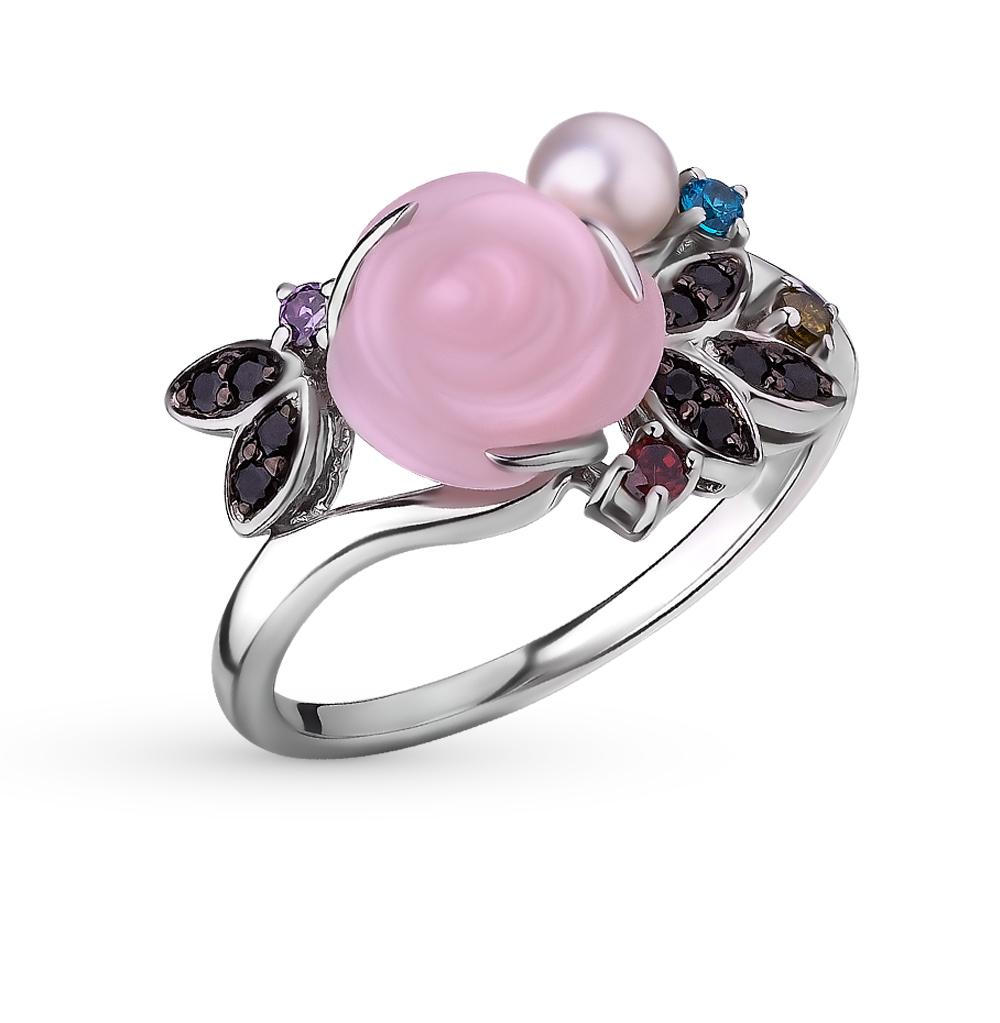 Фото «серебряное кольцо с кораллами синтетическими, фианитами и жемчугом»