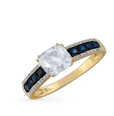 Фото «золотое кольцо с бриллиантами, топазами и сапфирами»