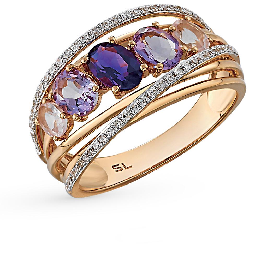 Фото «золотое кольцо с бриллиантами, аметистами и кварцами»