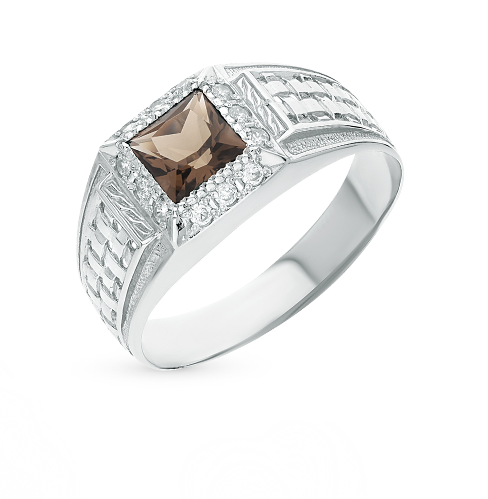 Фото «серебряное кольцо с фианитами и раухтопазами»