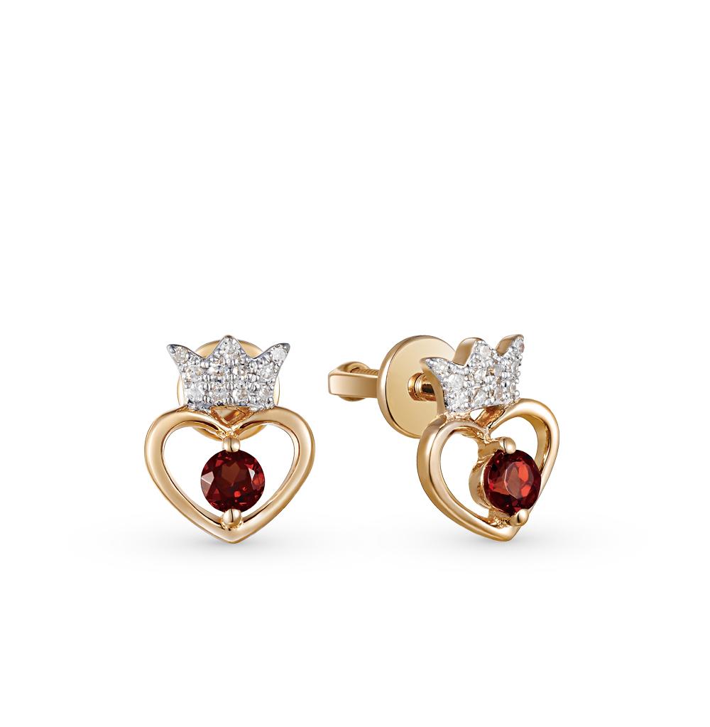 Фото «золотые серьги с бриллиантами и гранатами»