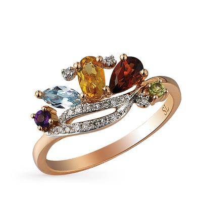 Фото «золотое кольцо с аметистом, гранатом, цитринами, топазами, хризолитом и бриллиантами»