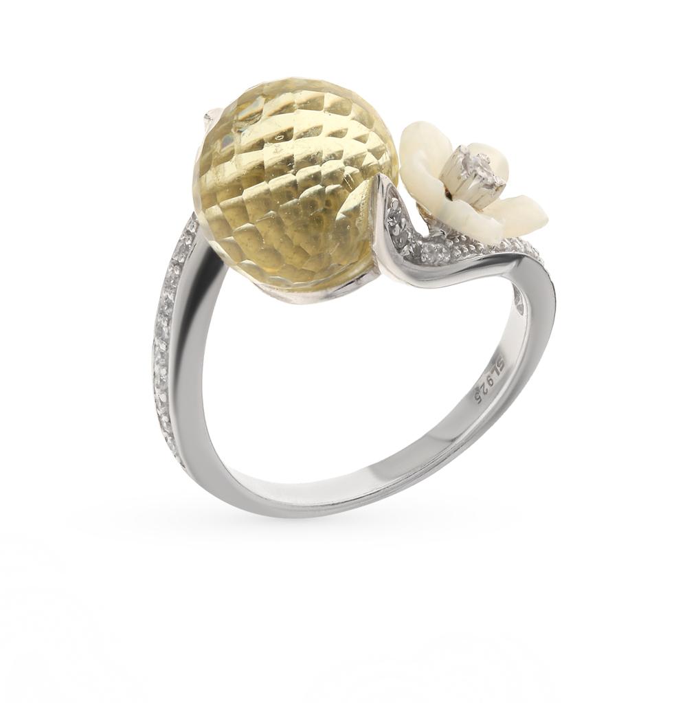 Фото «серебряное кольцо с алпанитами, фианитами и перламутром»