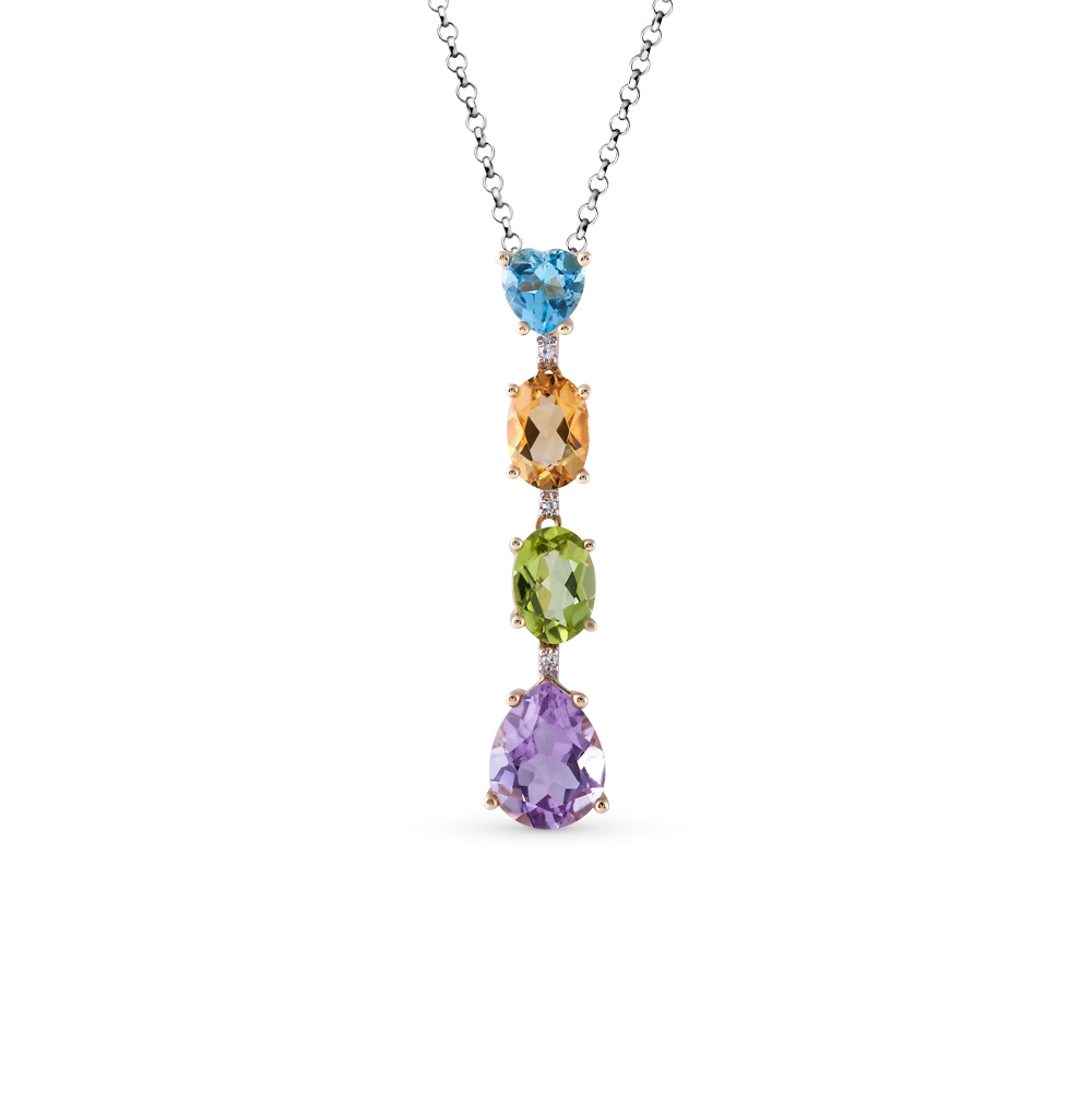 Фото «золотая подвеска с бриллиантами, аметистами, цитринами, топазами и хризолитами»