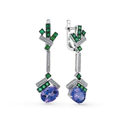 Фото «золотые серьги с бриллиантами, аметистами и изумрудами»