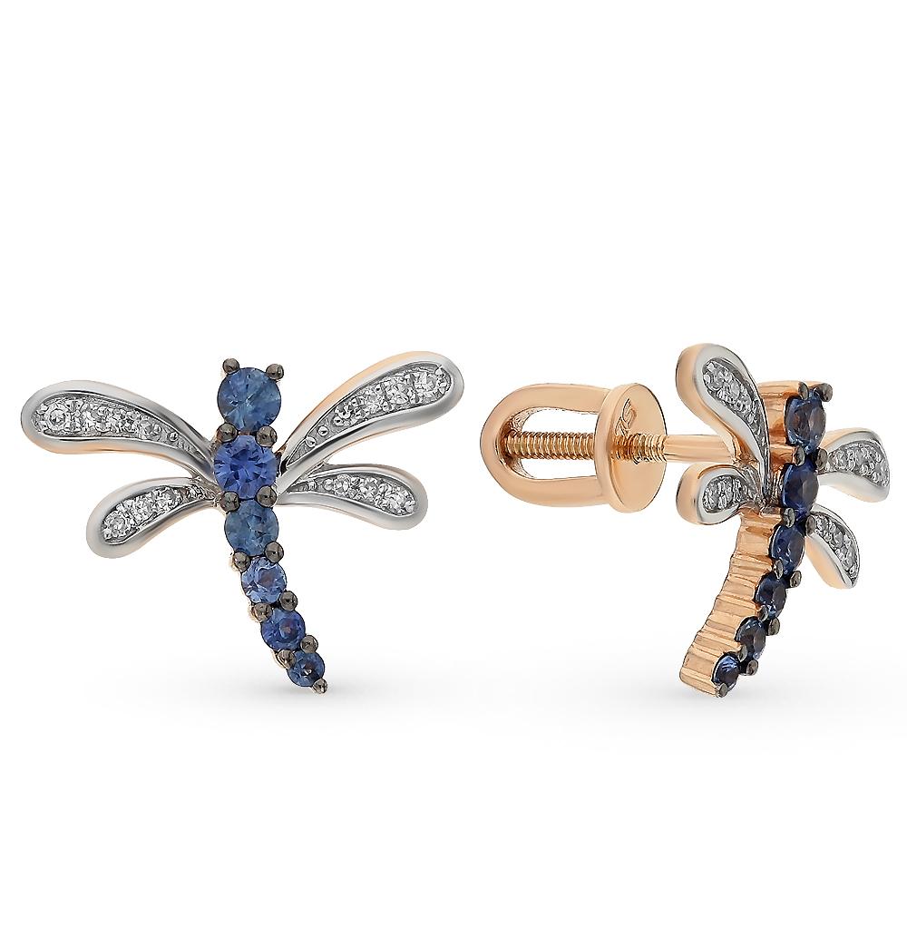Фото «золото серьги с бриллиантами и сапфирами»