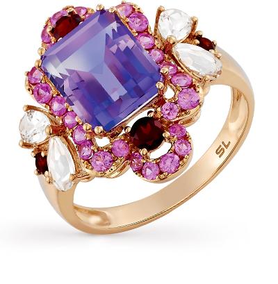 Фото «золотое кольцо с аметистами, гранатами, кварцами и сапфирами»