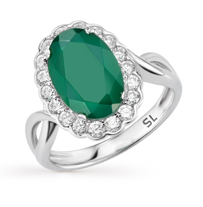 Фото «серебряное кольцо с алпанитами, фианитами и агатами»