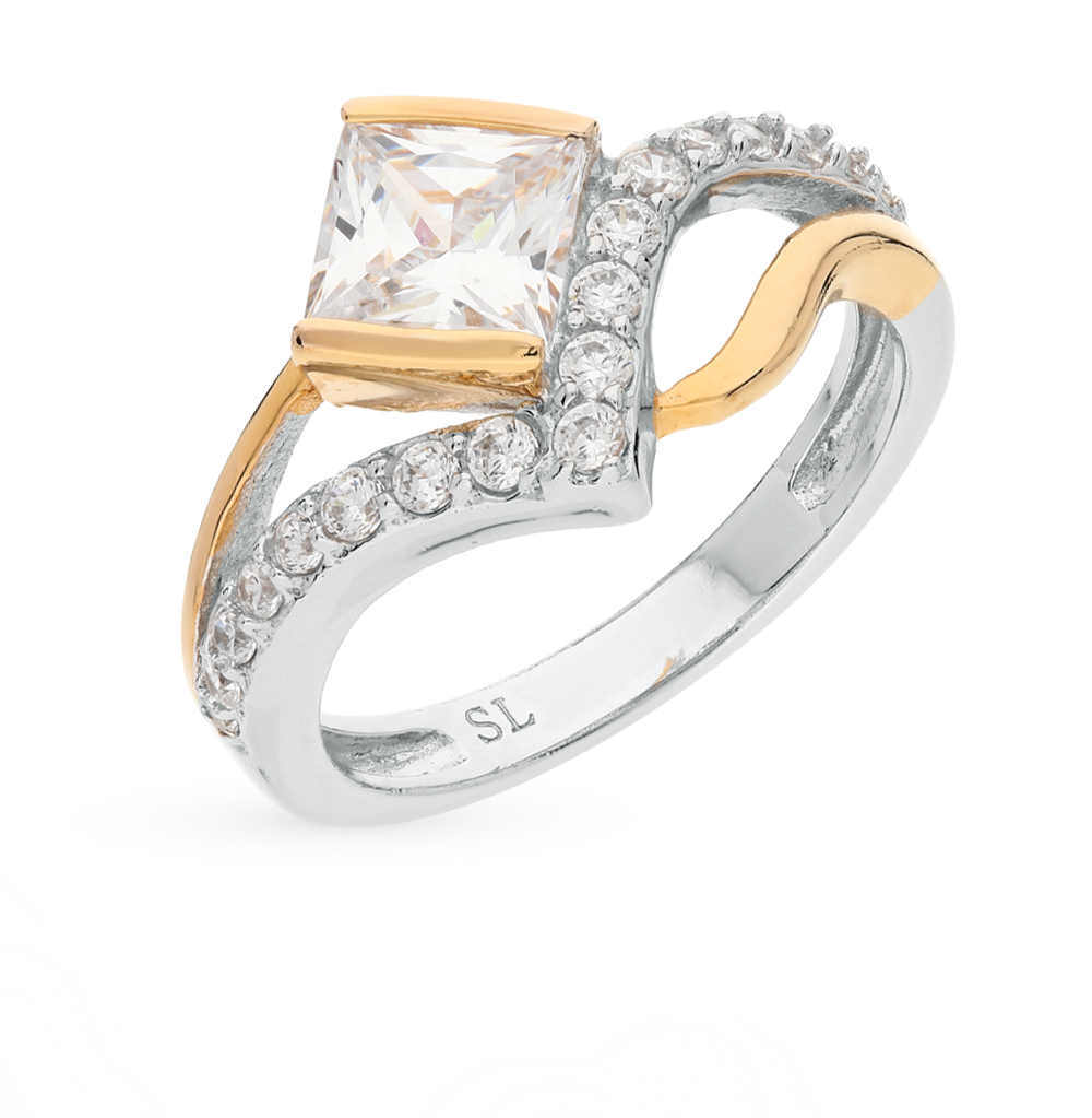 Фото «серебряное кольцо с кварцами и фианитами»