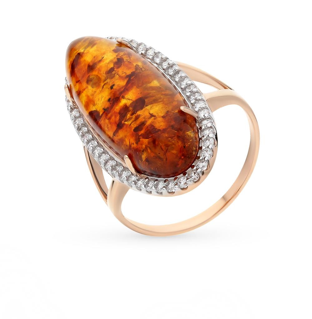 Фото «золотое кольцо с янтарём и фианитами»