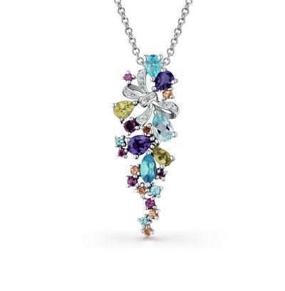 Фото «золотая подвеска с бриллиантами, аметистами, гранатами, цитринами, топазами и хризолитами»