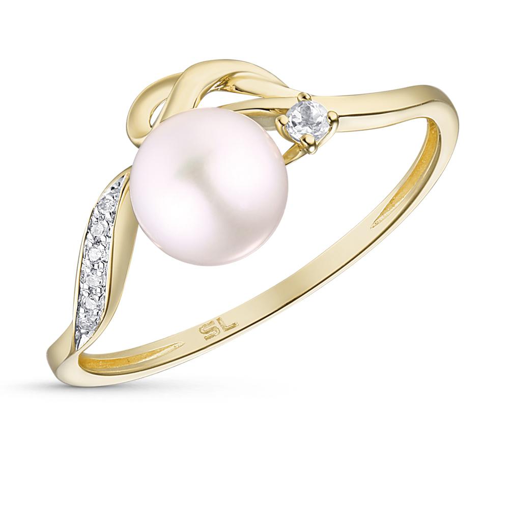 Фото «золотое кольцо с бриллиантами, топазами и культивированными жемчугом»