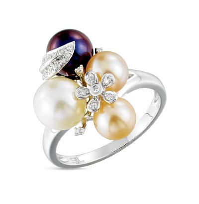 Фото «золотое кольцо с бриллиантами и культивированными жемчугами»