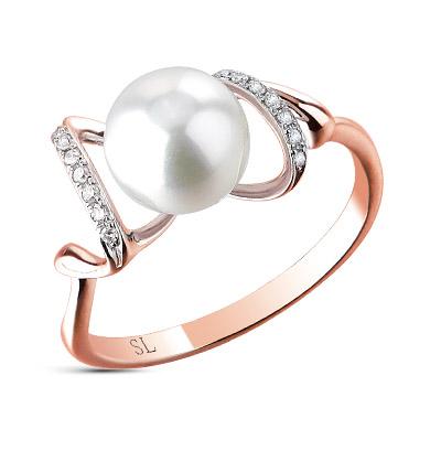 Фото «золотое кольцо с фианитами и культивированными жемчугом»