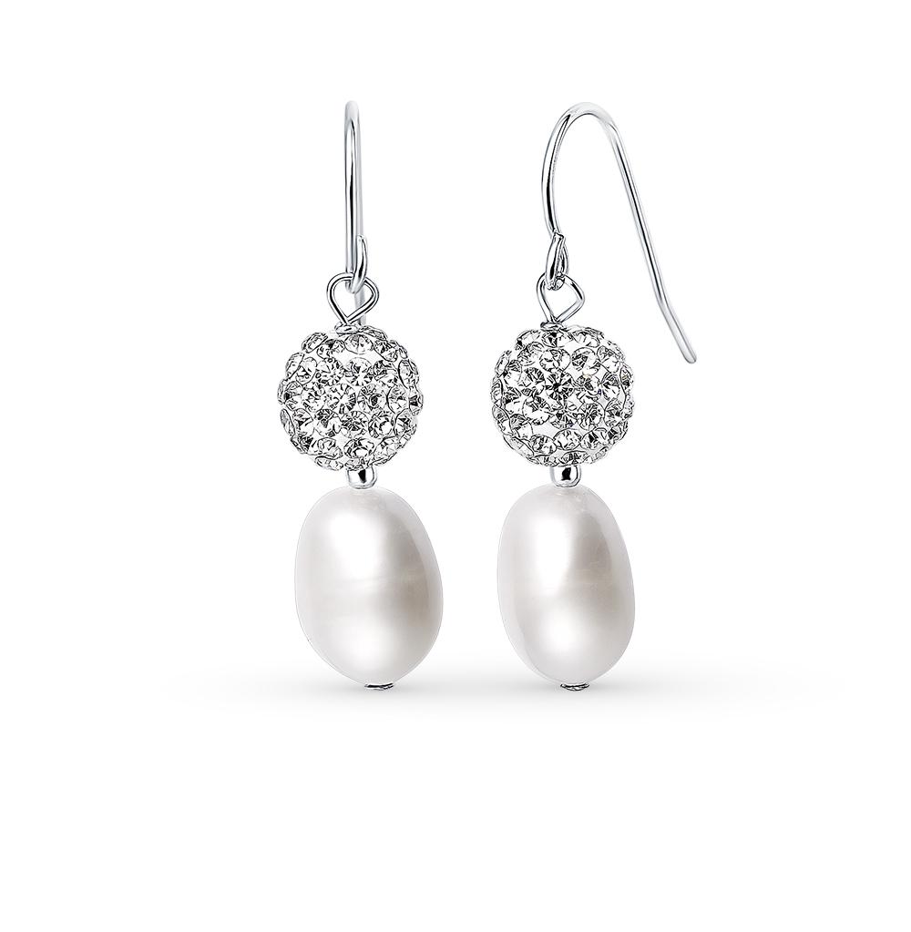 Фото «серебряные серьги с алпанитами, кристаллами swarovski, жемчугами имитациями и жемчугами»