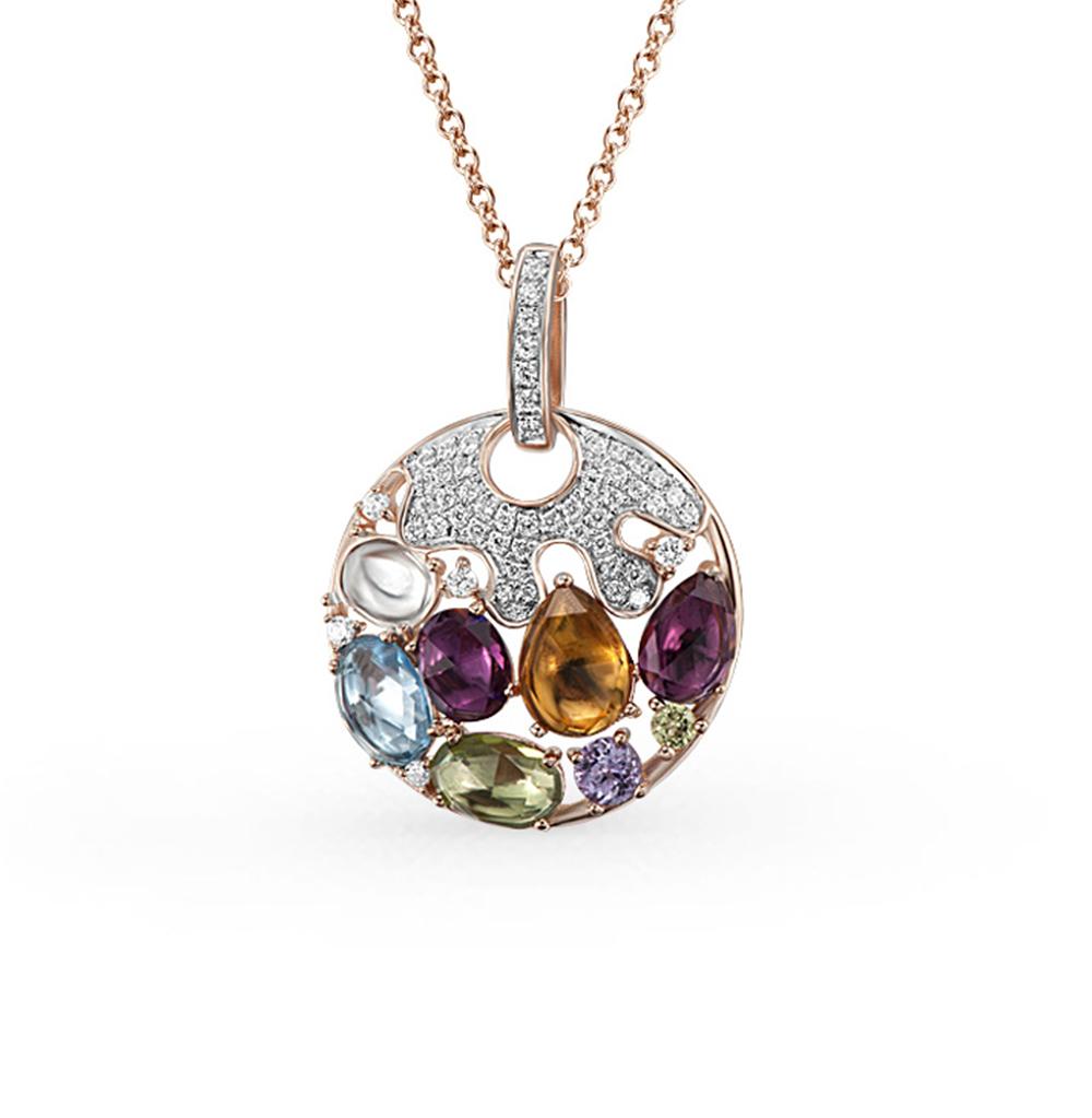 Фото «золотая подвеска с бриллиантами, аметистами, гранатами, цитринами, кварцами, топазами и хризолитами»