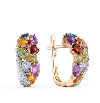 Фото «золотые серьги с бриллиантами, аметистами, гранатами, цитринами, топазами и хризолитами»