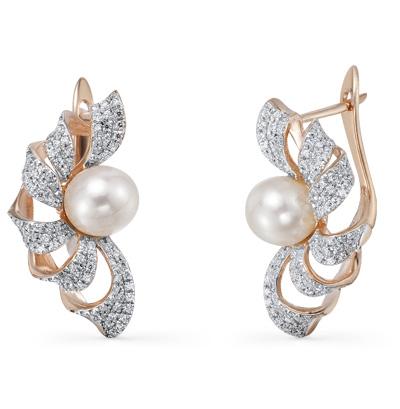 Фото «золотые серьги с бриллиантами и жемчугами»