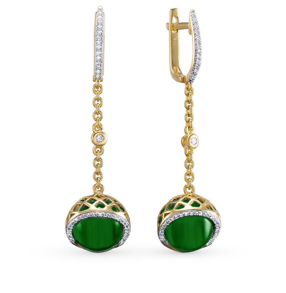 Фото «золотые серьги с бриллиантами и агатами»