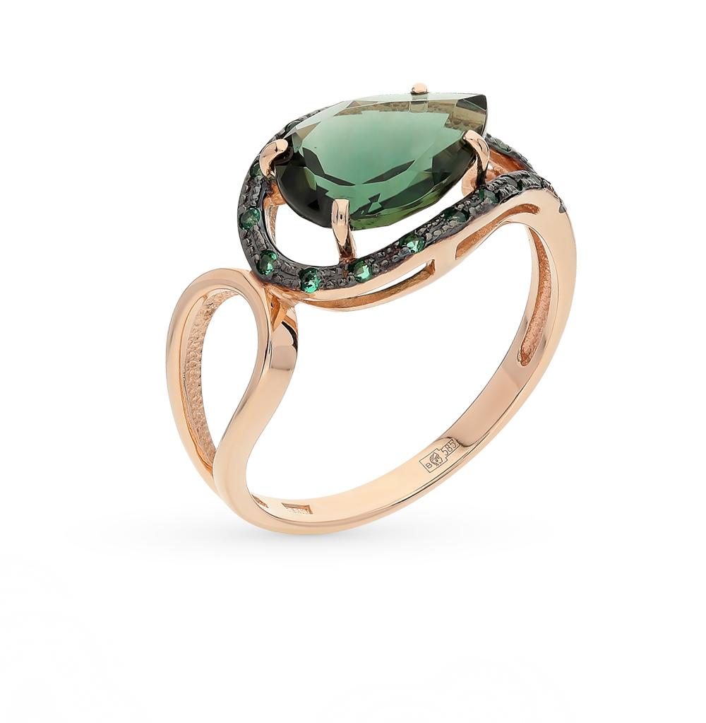 Фото «золотое кольцо с турмалинами имитациями и фианитами»