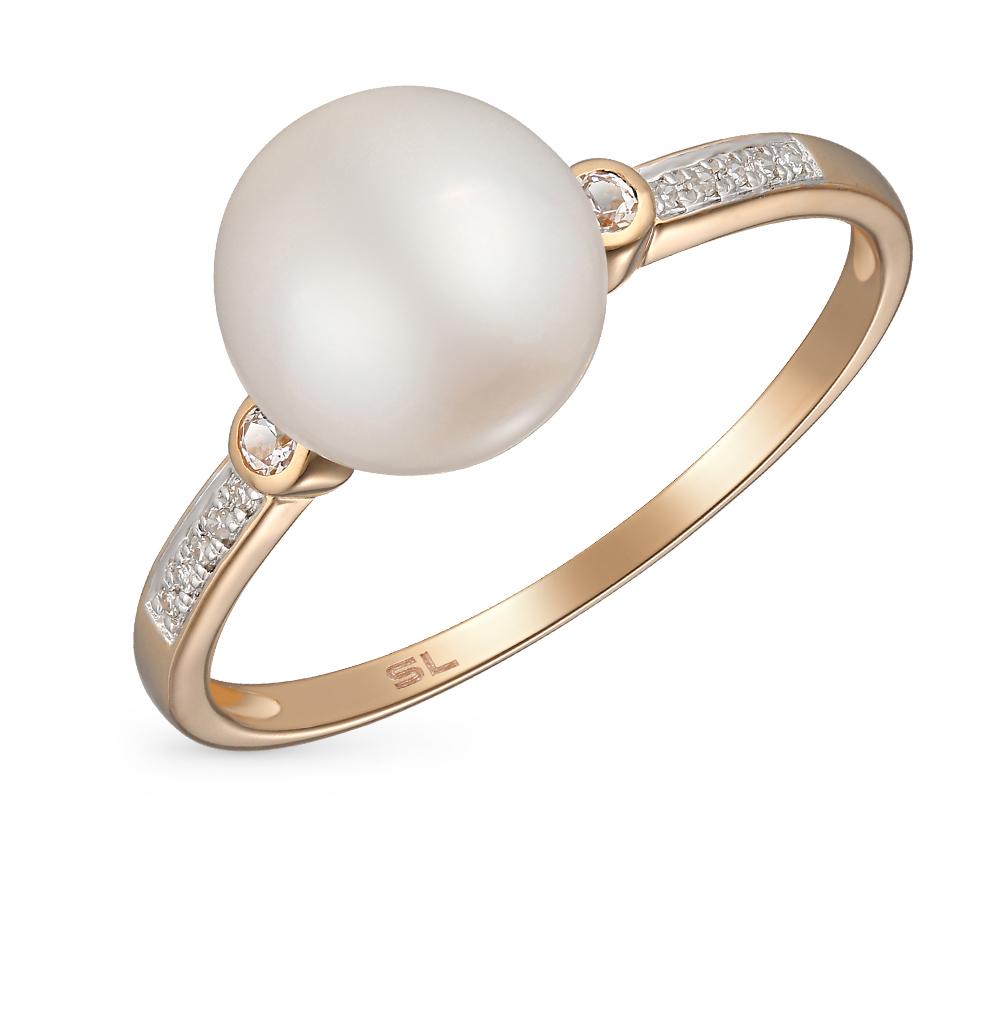 золотое кольцо с бриллиантами, топазами и жемчугами SUNLIGHT