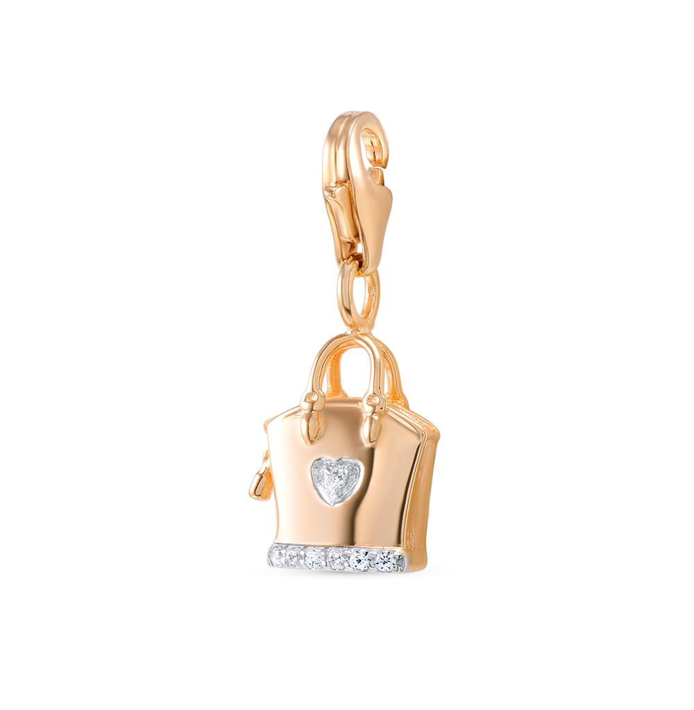 золотая подвеска - брелок с фианитами SUNLIGHT