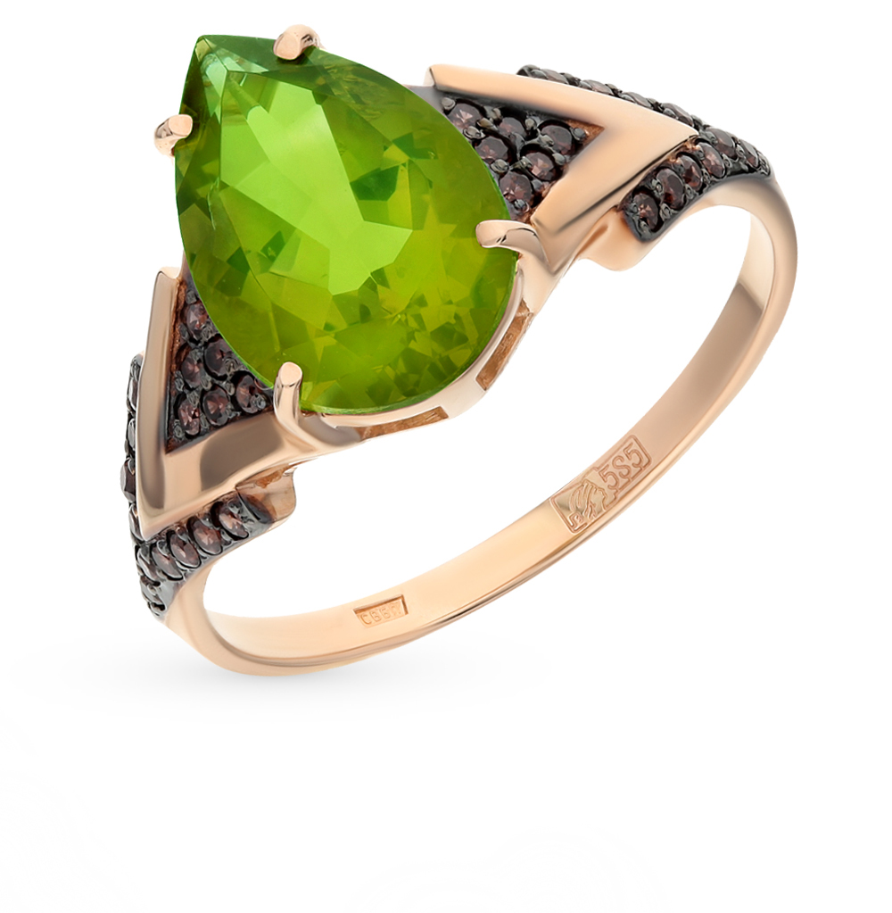 Фото «золото кольцо с султанитами синтетическими и фианитами»