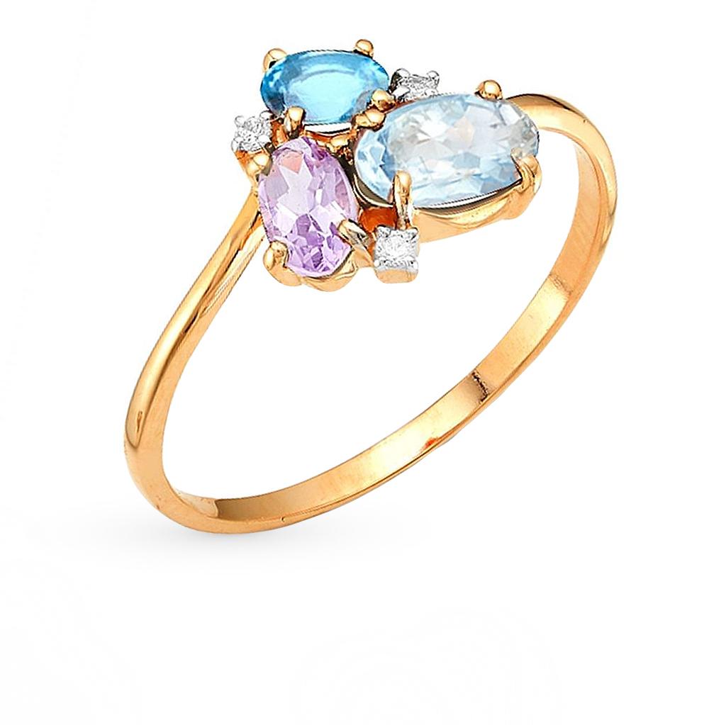 Фото «золотое кольцо с гранатом, топазами, фианитами, родолитами и раухтопазами (кварцами дымчатый)»