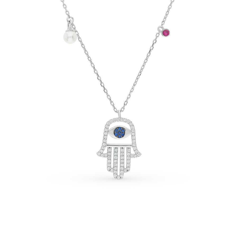 серебряное шейное украшение с шпинелями синтетическими, жемчугами имитациями, фианитами и сапфирами SUNLIGHT