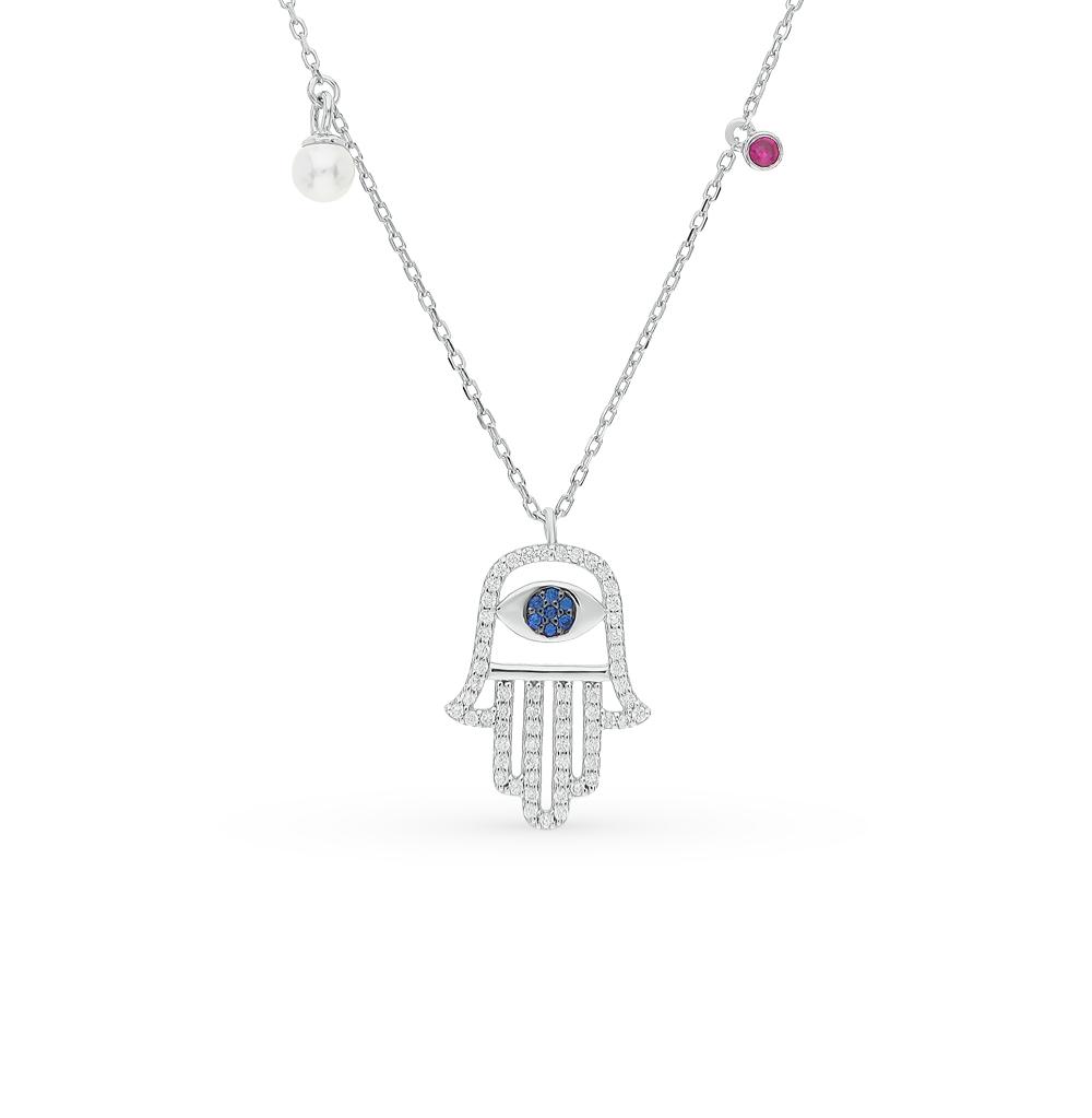 серебряное шейное украшение с фианитами, сапфирами, шпинелями синтетическими и жемчугами имитациями SUNLIGHT