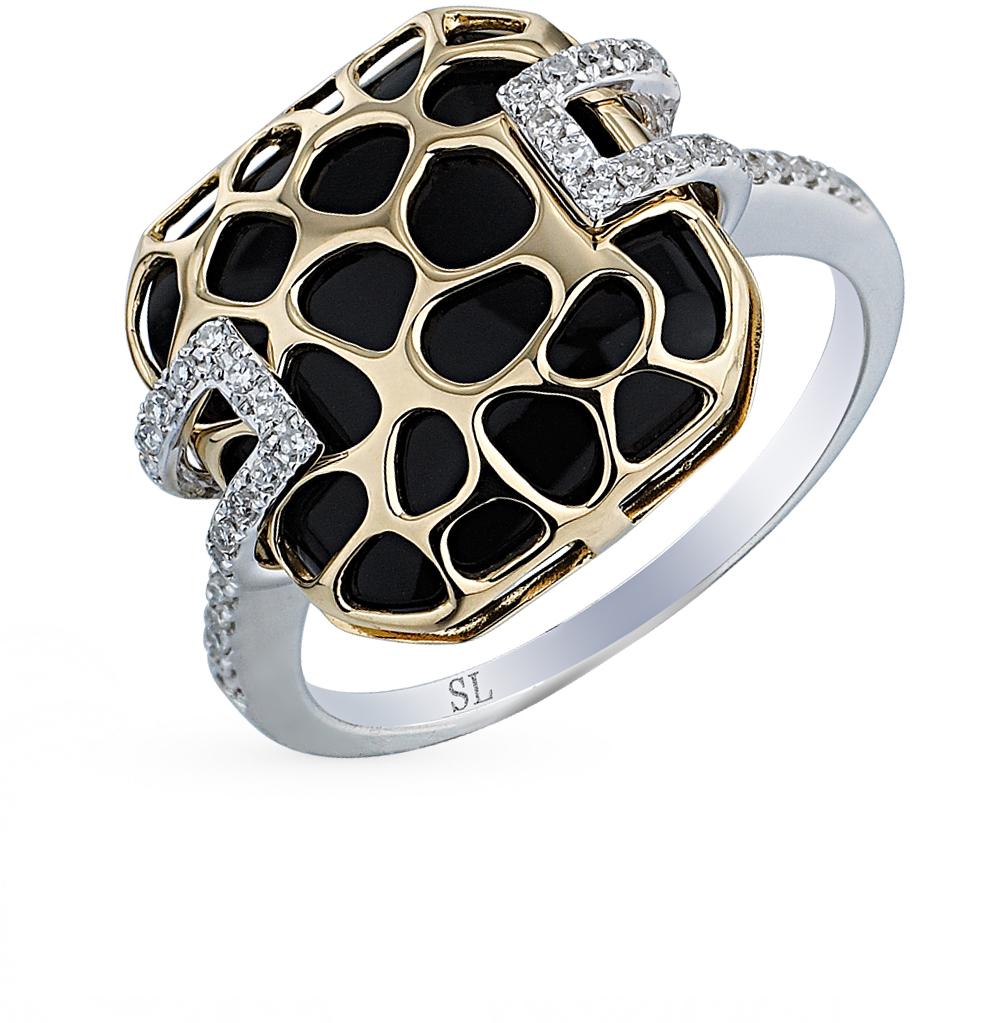 Фото «золотое кольцо с бриллиантами и ониксом»