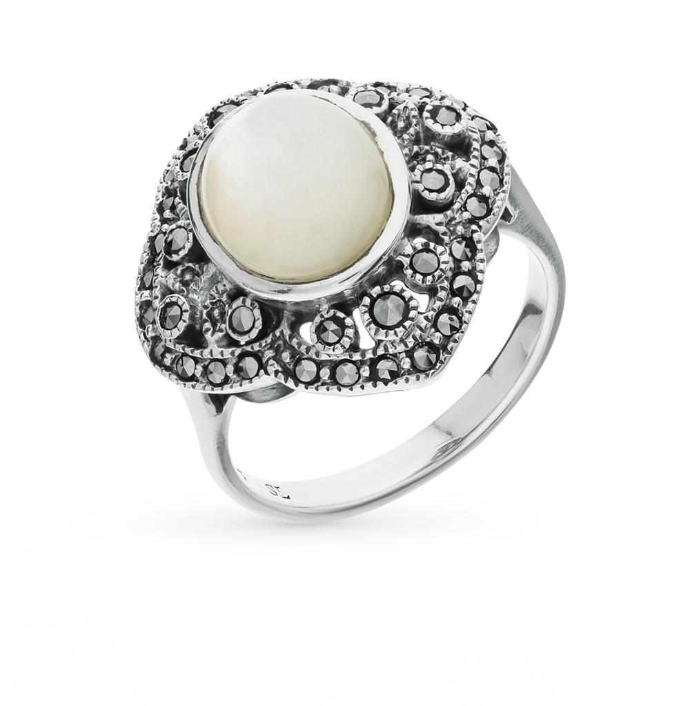 Фото «серебряное кольцо с марказитами и перламутром»