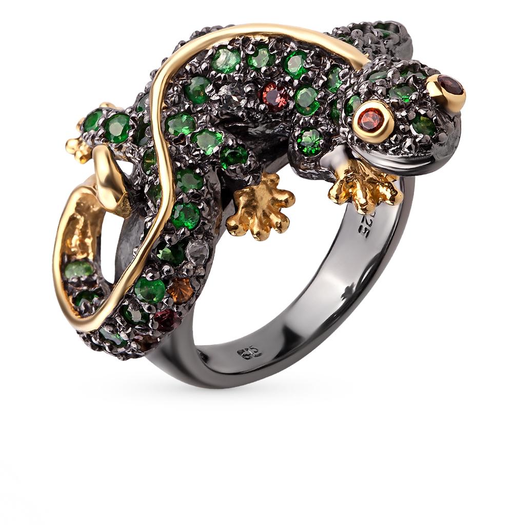 Фото «серебряное кольцо с цаворитами, гранатами, топазами и сапфирами»