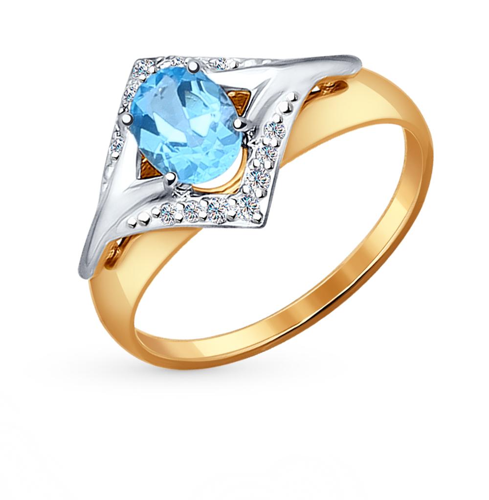 Фото «золотое кольцо с бриллиантами, топазами, фианитами и сапфирами»